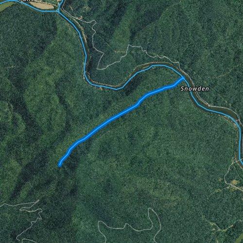 Fly fishing map for Matts Creek, Virginia