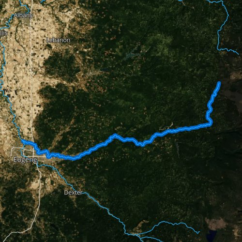 Fly fishing map for McKenzie River, Oregon