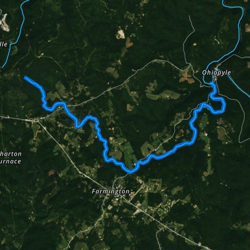 Fly fishing map for Meadow Run, Pennsylvania
