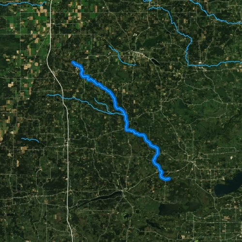 Fly fishing map for Mecan River, Wisconsin
