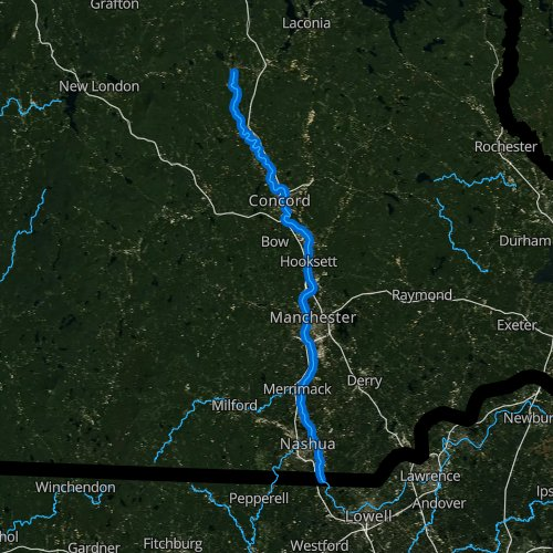 Fly fishing map for Merrimack River, New Hampshire