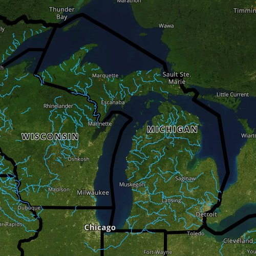 Fly fishing report and map for Michigan.