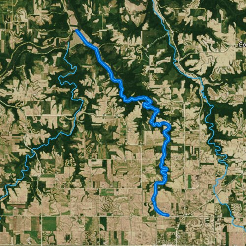 Fly fishing map for Middle Creek, Minnesota