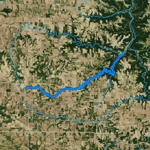 Fly fishing map for Middle Fork Whitewater River, Minnesota