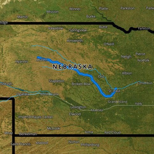 Fly fishing map for Middle Loup River, Nebraska