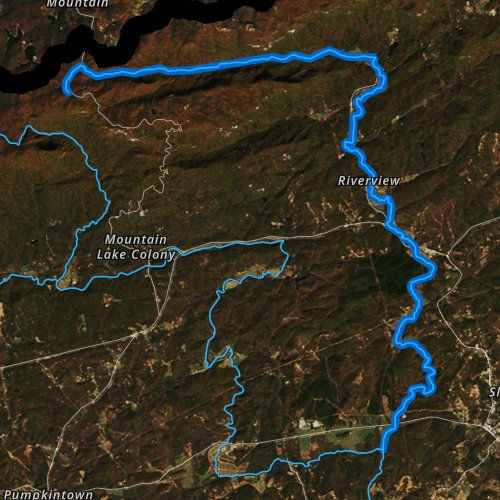 Fly fishing map for Middle Saluda River, South Carolina