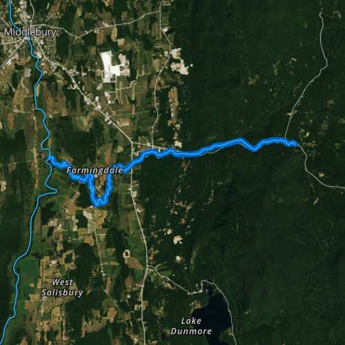 Fly fishing map for Middlebury River, Vermont