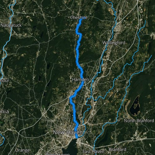 Fly fishing map for Mill River: Hamden, Connecticut