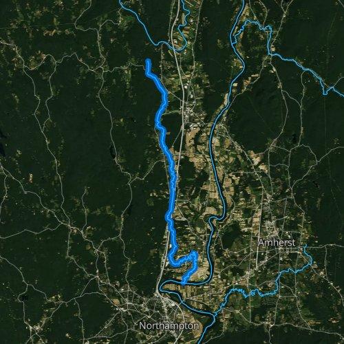 Fly fishing map for Mill River, Massachusetts