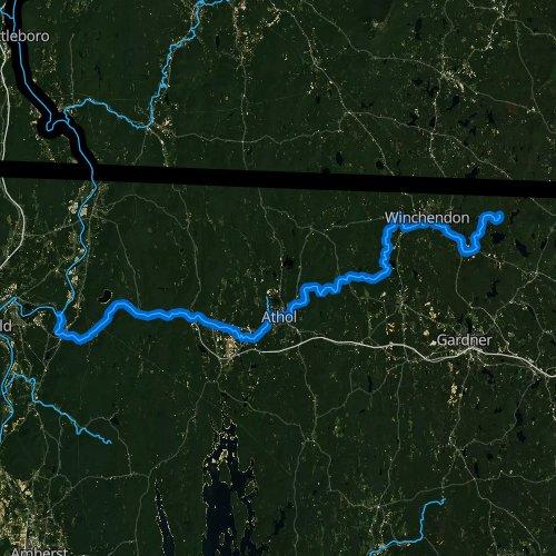 Fly fishing map for Millers River, Massachusetts