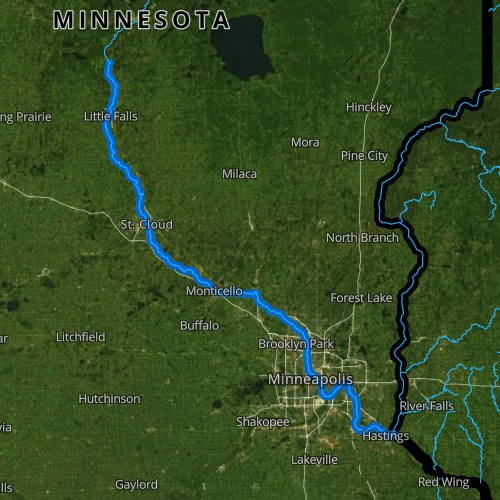 Fly fishing map for Mississippi River: Lower, Minnesota