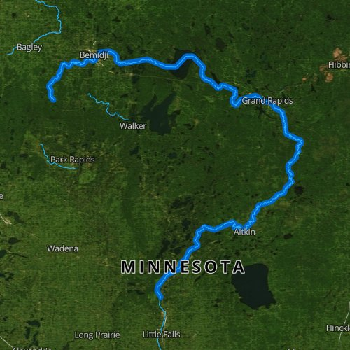 Fly fishing map for Mississippi River: Upper, Minnesota