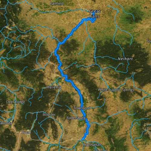 Fly fishing map for Missouri River, Montana