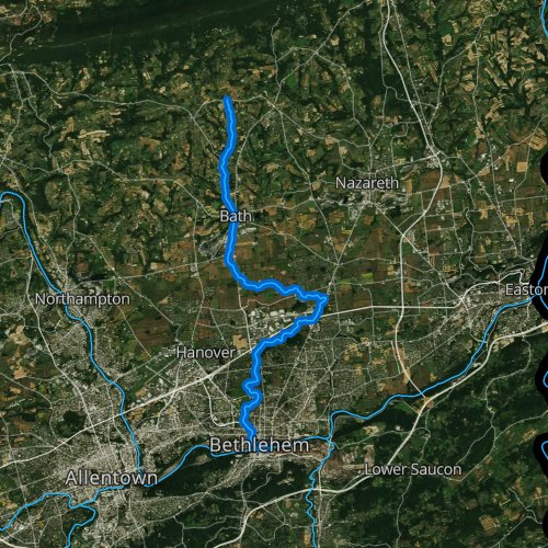 Fly fishing map for Monocacy Creek, Pennsylvania