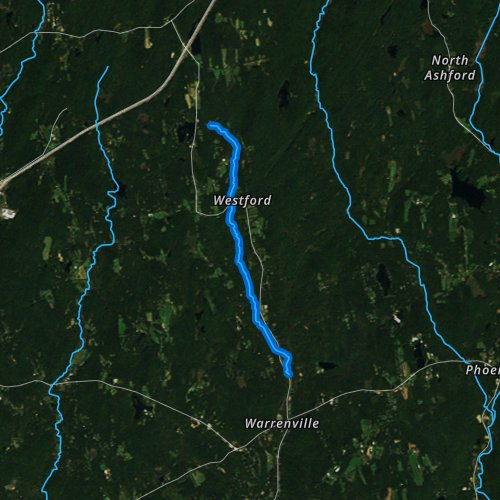 Fly fishing map for Mount Hope River, Connecticut