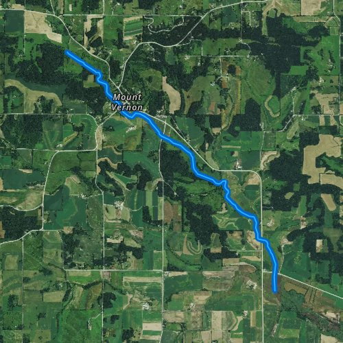Fly fishing map for Mount Vernon Creek, Wisconsin