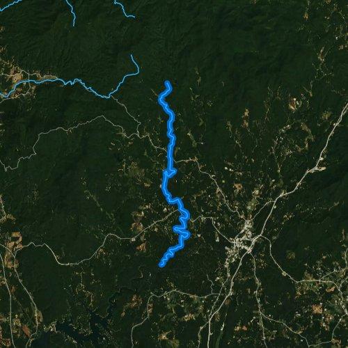 Fly fishing map for Mountaintown Creek, Georgia