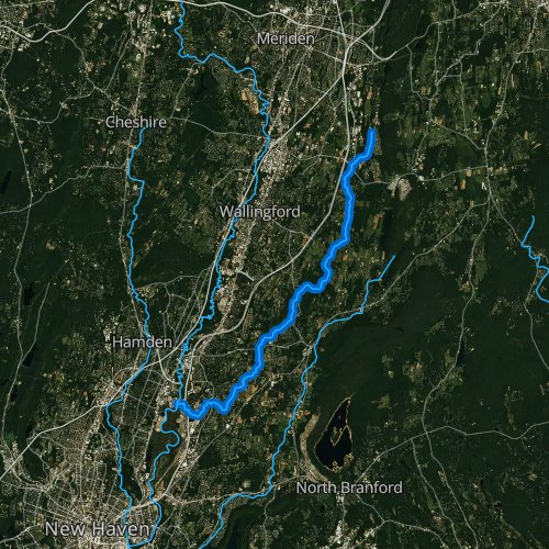 Fly fishing map for Muddy River, Connecticut