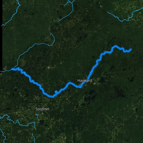 Fly fishing map for Namekagon River, Wisconsin