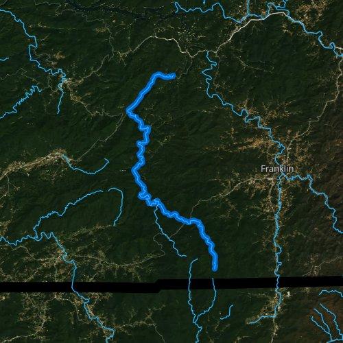 Fly fishing map for Nantahala River, North Carolina