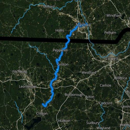Fly fishing map for Nashua River, Massachusetts