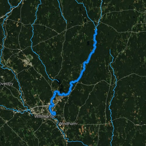 Fly fishing map for Natchaug River, Connecticut