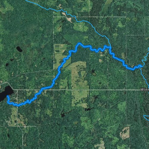 Fly fishing map for Nebagamon Creek, Wisconsin