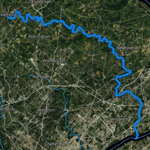 Fly fishing map for Neshaminy Creek, Pennsylvania
