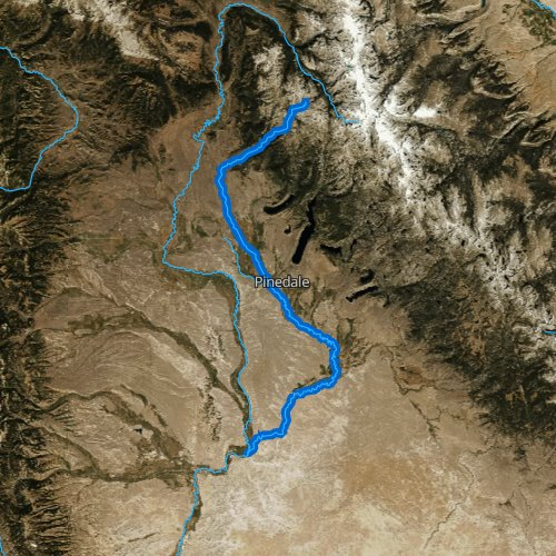 Fly fishing map for New Fork River, Wyoming