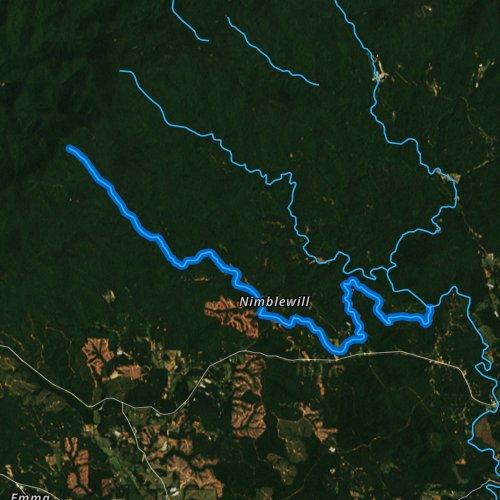 Fly fishing map for Nimblewill Creek, Georgia
