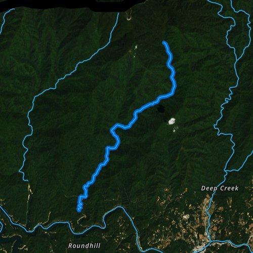 Fly fishing map for Noland Creek, North Carolina
