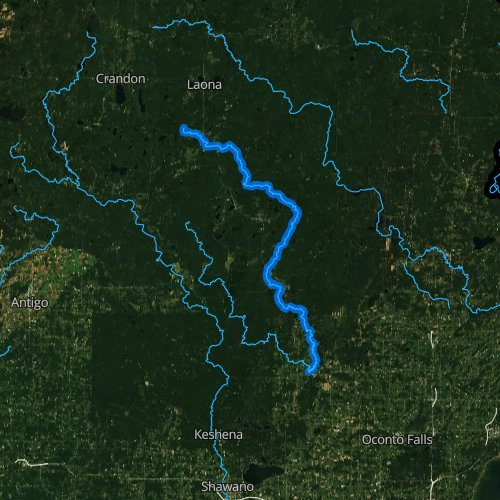 Fly fishing map for North Branch Oconto River, Wisconsin