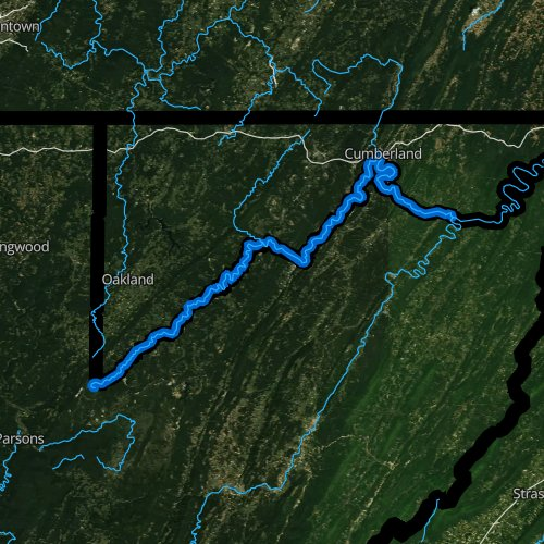 Fly fishing map for North Branch Potomac River, West Virginia
