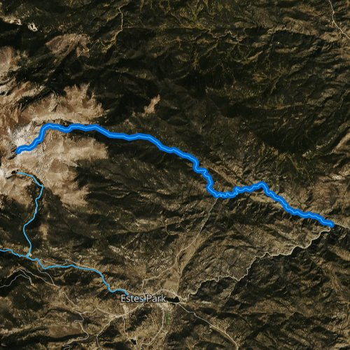 Fly fishing map for North Fork Big Thompson River, Colorado
