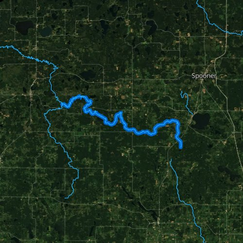 Fly fishing map for North Fork Clam River, Wisconsin