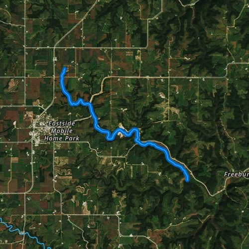 Fly fishing map for North Fork Crooked Creek, Minnesota