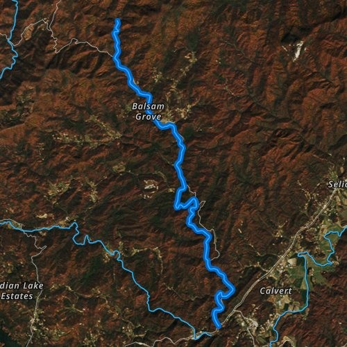 Fly fishing map for North Fork French Broad River, North Carolina