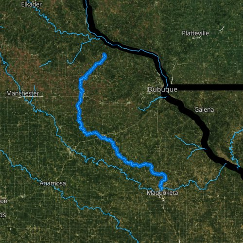 Fly fishing map for North Fork Maquoketa River, Iowa