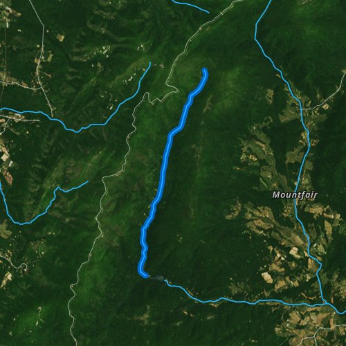 Fly fishing map for North Fork Moormans River, Virginia