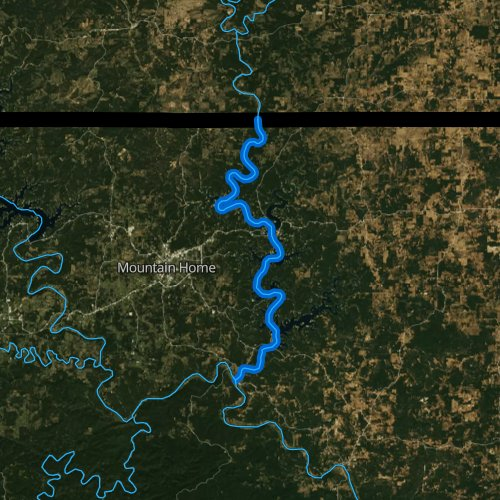 Fly fishing map for North Fork River, Arkansas