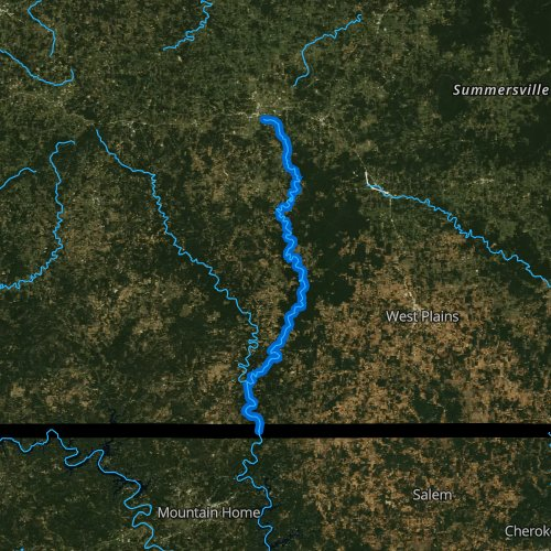 Fly fishing map for North Fork River, Missouri