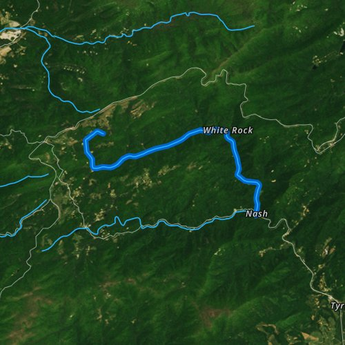 Fly fishing map for North Fork Tye River, Virginia