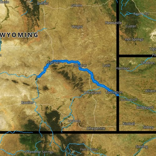 Fly fishing map for North Platte River: Lower, Wyoming
