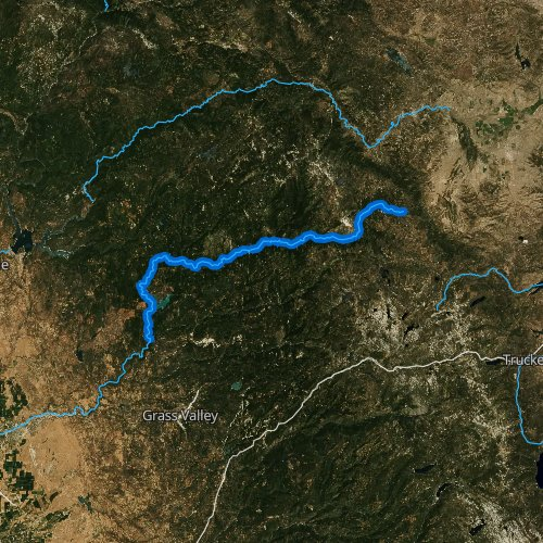 Fly fishing map for North Yuba River, California