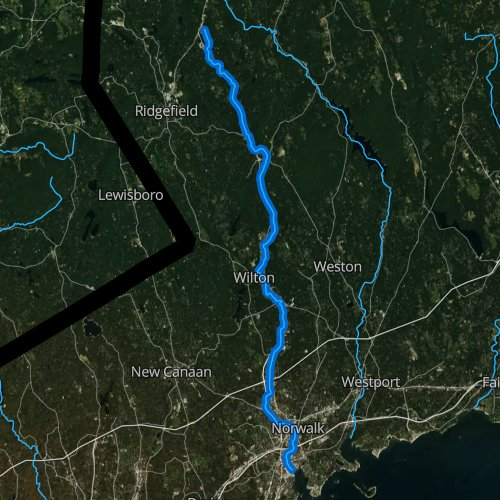 Fly fishing map for Norwalk River, Connecticut