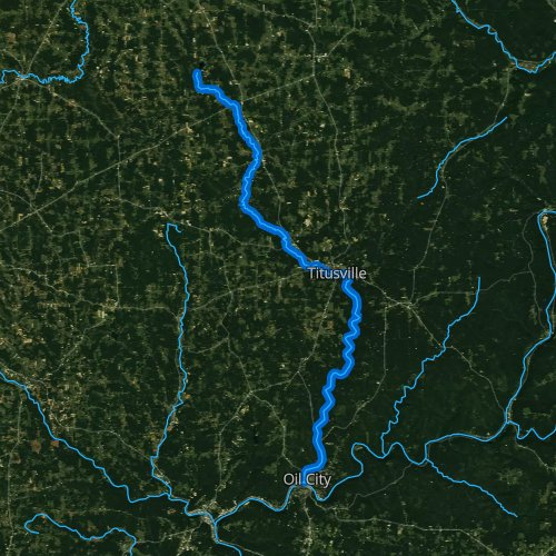 Fly fishing map for Oil Creek, Pennsylvania