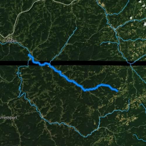 Fly fishing map for Oswayo Creek, Pennsylvania