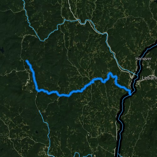 Fly fishing map for Ottauquechee River, Vermont