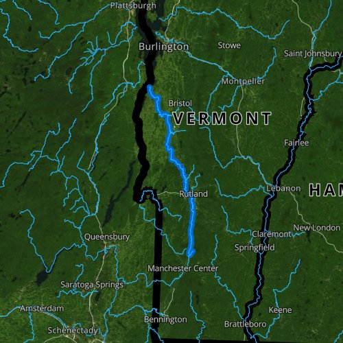 Fly fishing map for Otter Creek, Vermont