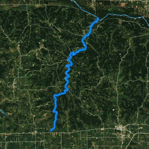 Fly fishing map for Otter Creek, Wisconsin